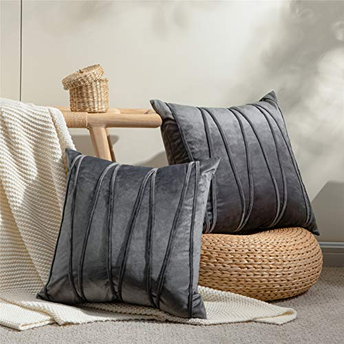 Topfinel 2 Juegos Hogar Cojín Terciopelo Suave Decorativa Almohadas Fundas de Color Sólido para Sala de Estar sofás 45x45cm Gris Oscuro
