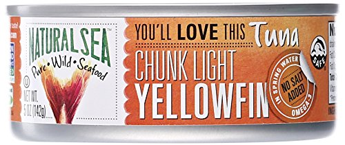 Natural Sea Chunk Light Yellowfin Tuna, No Salt Added, 5 oz