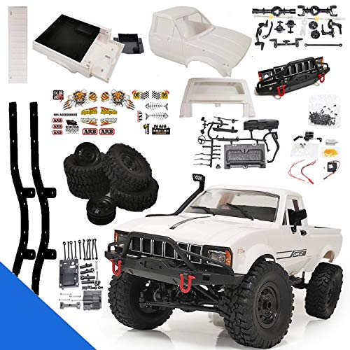 Yiran WPL C24-1RC Auto Kletterfahrzeug DIY Fernbedienung Hochgeschwindigkeitsfahrzeug LKW Klettern Rock Truck Hobby Grade Toy Kit (Weiß) (C24 1-Kit Metall)