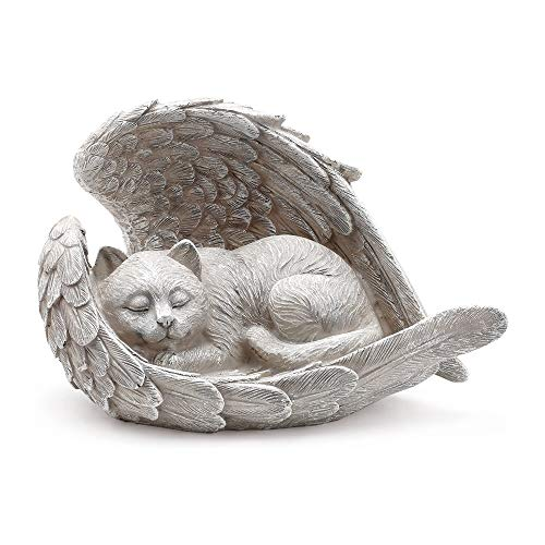 Napco Sleeping Cat Within Angel Wings 8.5 x 5.5 Resin Stone Pet Memorial Figurine, Concrete Grey