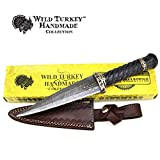 Wild Turkey Handmade Damascus Steel Collection Dirk Sgian Dubh Knife w/ Leather Sheath (DM-1113)