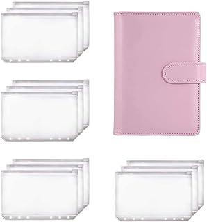 Vrttlkkfe A6 pärm planerare rosa anteckningsbok pärm och 12 delar 6 hål pärm dragkedja mapp, pärm fickor kontanter kuvert ...