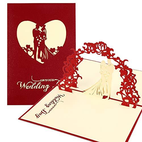 3D Karte, Pop Up Hochzeitskarte für die Meisten Anlässe, Romantik Faltkarte, Grußkarte Valentinstag Karte, Hochzeitstag, Geburtstagskarte für Sie, Glückwunschkarten mit Umschlag