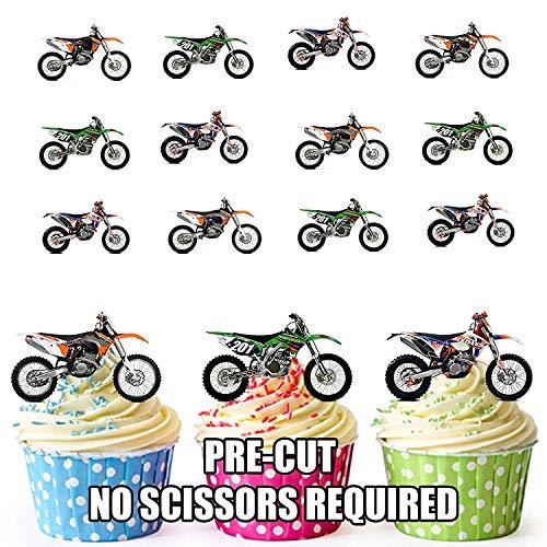 Motocross Mix - 12 Esspapier-Cupcake-/Kuchen-Dekorationen