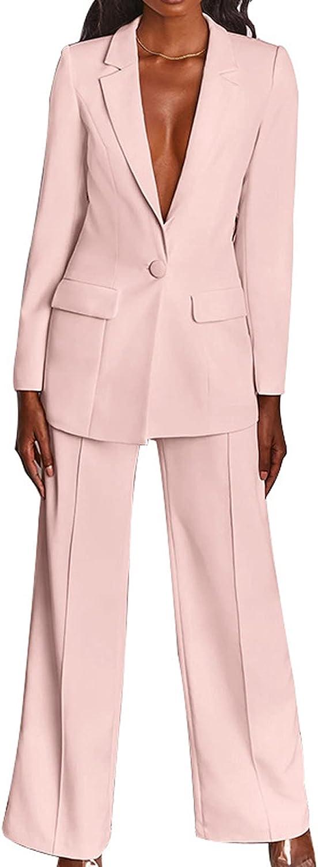 Women's 2 Piece Business Blazer Pant Suit Set Solid Color Notched Lapel One ButtonLong Sleeve Blazer + Wide Leg Pant