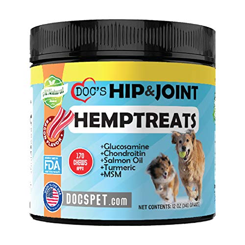Doc's Pet Dog Hip & Joint Hemp Treats -170 Soft Chew Supplements- Glucosamine for Dogs - Chondroitin - MSM - Turmeric - Salmon Oil -Pain Relief& Mobility Chews - Made in USA