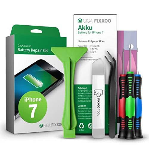GIGA Fixxoo Akku Reparaturset kompatibel mit iPhone 7 | Einfacher Austausch mit Anleitung und Werkzeug im Set bei Defekter Batterie, schnelles Wechseln…
