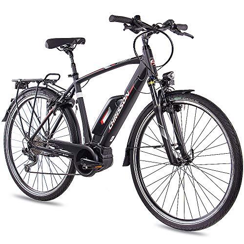 CHRISSON 28 inch heren trekking- en city-E-bike - E-Rounder zwart mat - elektrische fiets heren - 9 versnellingen Shimano Deore derailleur - pedelec met Bosch middenmotor Active Line 250W, 40Nm