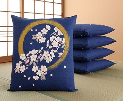 Totas Zabuton - Japanese Floor Cushion Cover (5pieces) - Enso Circle with Sakura