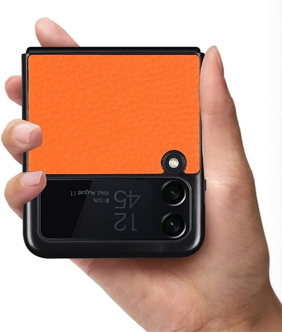 Luxury Real Leather Shockproof Case with Hidden Stand for Samsung Galaxy Z Flip 3 5G,Magnetic Kickstand Ultra-Thin Leather Flip Protective Case for Samsung Galaxy Z Flip3 (Orange)