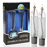 """Ner Mitzvah Glass Paraffin Shabbat Candle Holder Cup and Wick – Candle Shape – Fits All Standard Candlesticks - Use with All Lamp Oil - No Mess Refill - 4""""H (10cm) - 2 Pack"""