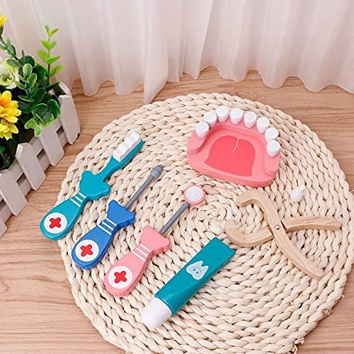 PPuujia Los nios doctor juguete conjunto 6pcs beb juguetes doctor juego de madera herramientas dentales simulacin caja de medicina