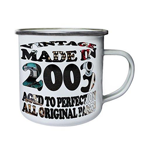 Vintage Original Hecho en 2003 Retro, lata, taza del esmalte 10oz/280ml u727e