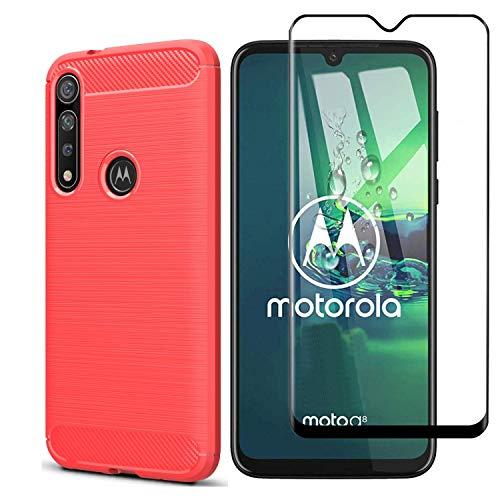Kit Danet Capa Capinha Anti Impacto Para Motorola Moto G8 Plus Tela 6.3Case Com Desenho Fibra De Carbono E Película De Vidro Temperado 3d Full Cover (Vermelho)