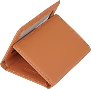 Banuce Colored Top Grain Leather Trifold Wallet for Women Small Slim Clutch Purse Card Holder with ID Window Brown