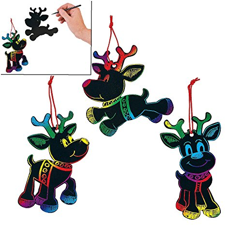 Magic Color Scratch Reindeer Christmas Ornaments 24 Pcs  Crafts for Kids amp Ornament Crafts