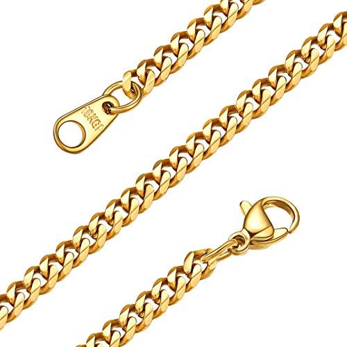 GoldChic Jewelry 3 mm gouden stoeprand heren ketting, 18K vergulde platte Cubaanse link voor mannen, 316L roestvrijstalen sieraden 18 '' 22 '' 26 '' 28 '' 30 inch
