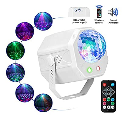 Party Projector Light with Multiple Pattetns, softeen DJ Party Strobe Light with RGB LED Light and Red/Green Projector Light, Sound Activated and Remote Controlled