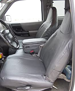 Durafit Seat Covers Made to fit Ford Ranger XLT XCab Front High Back 60/40 Split Bench with Molded Headrests and Opening Center Console in Dark Gray Leatherette