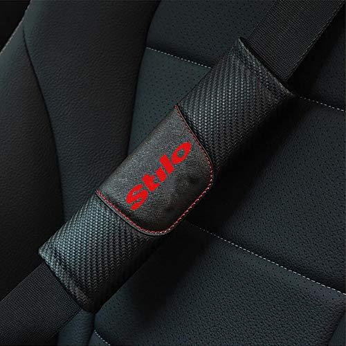 ZXCV 2 Fundas Coche Almohadillas Cinturón Fibra Carbono, para Fiat Stilo Hombro Correa Protector Seguridad con Logo Auto Interior Accesorios
