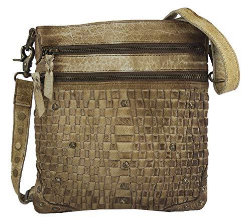 Sunsa klein Damen Leder Tasche Umhängetasche Schultertasche Mini Handtasche Vintage Retro Design Ledertasche hochwertige Crossbody Einzelstück Damentasche Frauentasche mit Reißverschluss braun