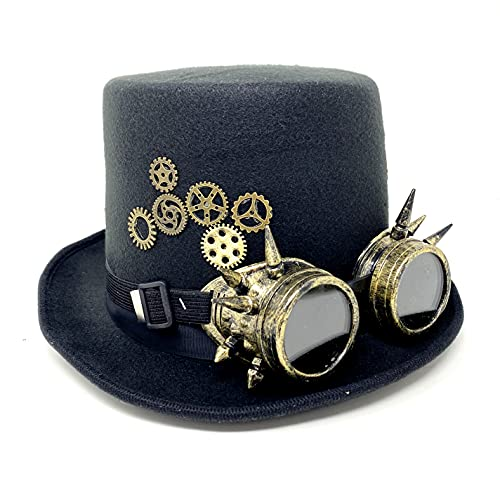 Storm buy ] Steampunk Top Hat Mad Scientist Time Traveler Feather Halloween Costume Cosplay Party with Clock(Silver Bullet)