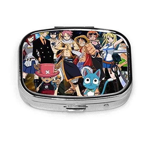 F-airy T-ail Natsu Caja de pastillas de metal cuadrada o soporte organizador Estuche organizador de bolsillo o billetera Viajar