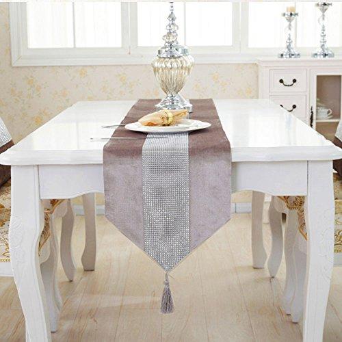 Deggodech Samt stilvolle atmosphäre minimalistischen modernen Diamanten Tischläufer/Tischdecke Couchtisch Tuch und Zwei Quasten (32 x 185 cm) (Champagner)