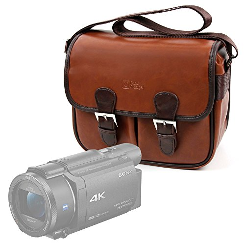 DURAGADGET Bolsa Profesional marrón con Compartimentos para Videocámara Sony Handycam FDR-AX53 |...