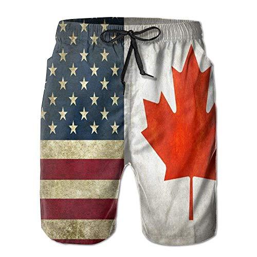 ZQHRS Pantalones Cortos de Playa para Hombre Pantalones Cortos de Entrenamiento de la Bandera de Canadá de Canadá Ropa de Playa