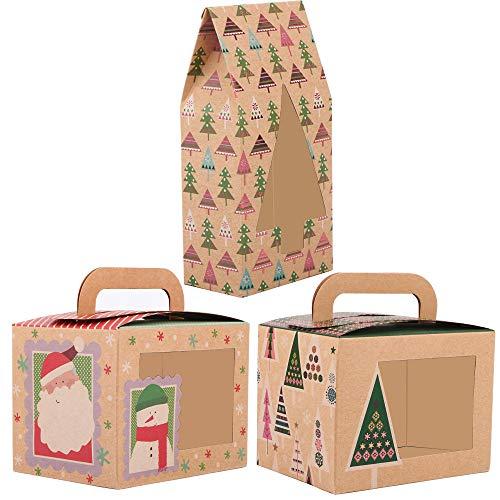 BHGT 24 Cajas Regalo Pequeñas Navidad Cajitas Navideñas Papel Kraft Caramelos Dulces Galletas Pequeñas Decoración Fiesta Navidad