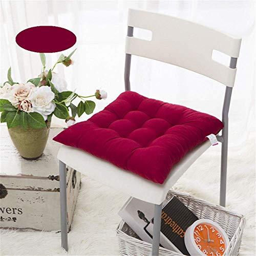 KEOA Quadretti Antiscivolo Cuscino per Sedia Set di 4 Imbottiture Sedia per casa Cuscini per Sedie con Legami All'Aperto Interna per Ufficio o per seggiolino Auto- Vino Rosso