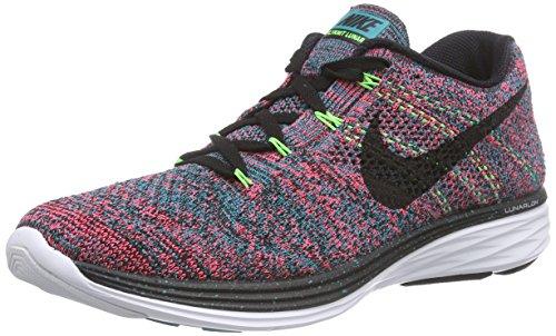 Nike Flyknit Lunar3 Black Emerald Hyper Punch Running Shoes sz 10