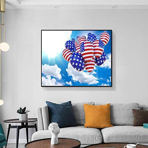 ganlanshu Amerikanische Leinwandkunstmalerei Ballonkunstplakat Moderne Hauptwohnzimmerdekoration unter sonnigem Himmel,Rahmenlose Malerei,50x60cm