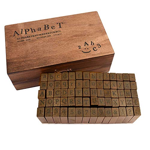 TRIXES Gummi-Stempel Set mit Holzgriffen mit 70 Buchstaben Stempeln Groß- und Kleinbuchstaben Alphabet Zahlen und Symbole