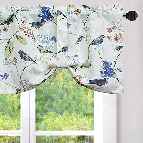 Leeva Kitchen Valance Tie Up Small Curtains and Valance for Dining Room, Delicate Tie-up Birds Pattern Valances for Windows, One Panel, 52X18 Inch, Blue