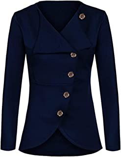 Lrud Women's Fashion Single Breasted Slim Coat Popular Solid Simple Jacket Long Sleeve Daily Blazer