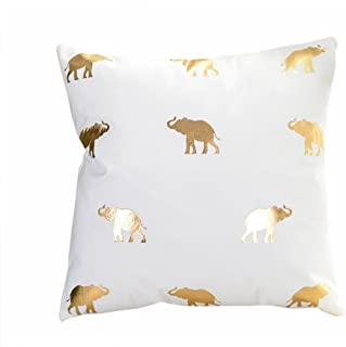 MHB Bronzing Flannelette Home Pillowcases Throw Pillow Cover with Elephant Pattern Design