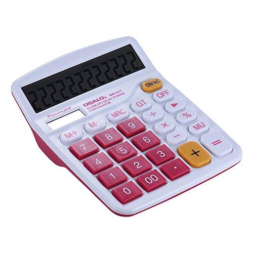 Aibecy Taschenrechner, bunt, Standard-Funktion, solar- und batteriebetrieben, 12 Ziffern, Rosarot
