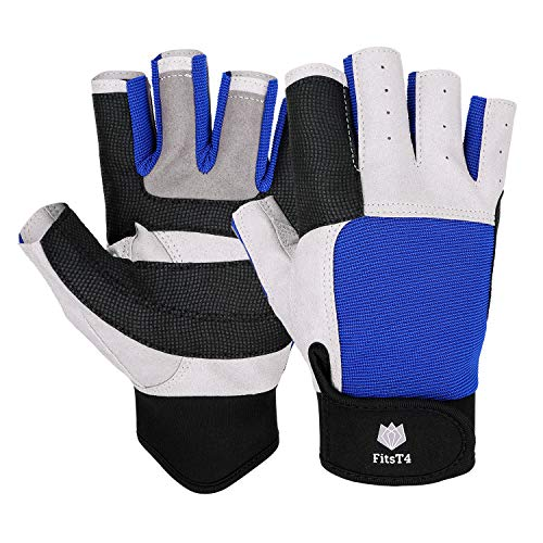 FitsT4 Sailing Gloves 3/4 Finger and Grip Great for Sailing, Yachting, Paddling, Kayaking, Fishing, Dinghying Water Sports for Men and Women Blue L