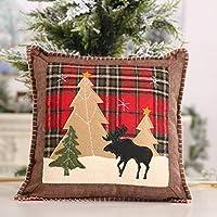La fodera per cuscino può portare uno stile diverso di vita domestica e moda. Il disegno degli alci / alberi del plaid natalizio può anche aggiungere un'atmosfera più festosa. Adatto per decorare soggiorno, letto, auto ecc. Queste decorazioni nataliz...