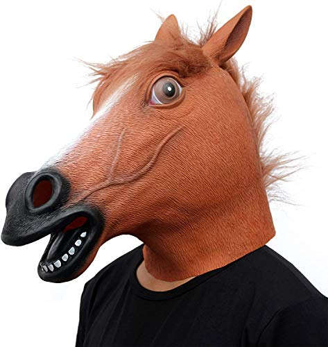 Horse Mask Party Dress Up Horse Head Masks for Adults Men Masquerade (Brown)
