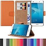 HANDYPELLE Tasche kompatibel mit Huawei Honor 5C im Bookstyle in Orange - Handytasche Hülle Wallet Hülle Handyhülle Schutzhülle