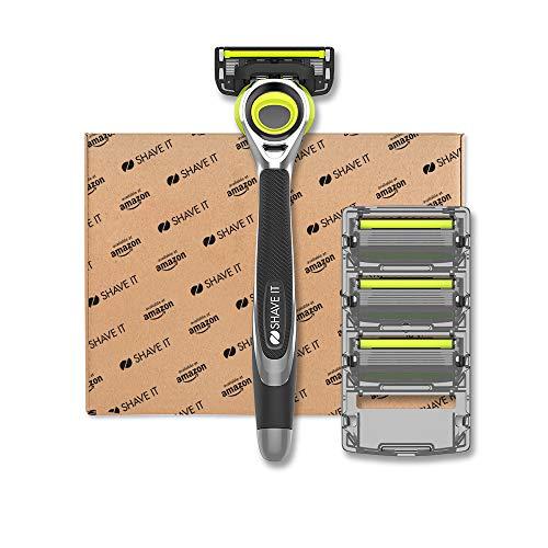 Shave It - Flexibler 6-Klingen-Rasierer für Männer mit Griff und 4 Klingen