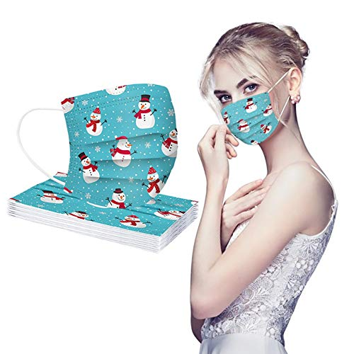 Disposable Face Masks Halloween Christmas 3 Layers Earloop Mouth Protective Cloth Mask Festival Party