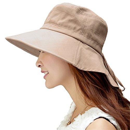 SIGGI Mujer Sol Verano Algodón Sombrero De Ala Ancha Tapa Abatible Up