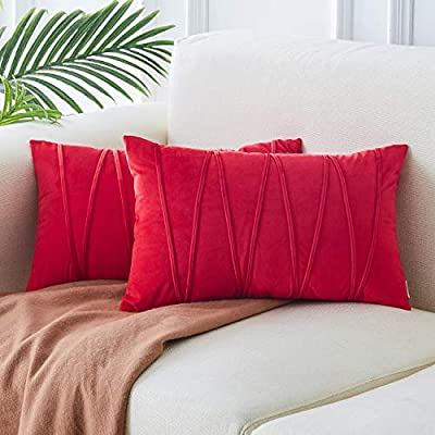 Top Finel Decorative Hand-Made Throw Pillow Covers for Couch Bed Soft Particles Striped Velvet Solid Cushion Covers, Pack of 2