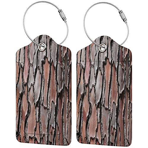 FULIYA Travel Luggage Suitcase Labels ID Tags Business Card Holder, Set of 2,Bark, Tree, Pine, Wooden, Relief, Texture