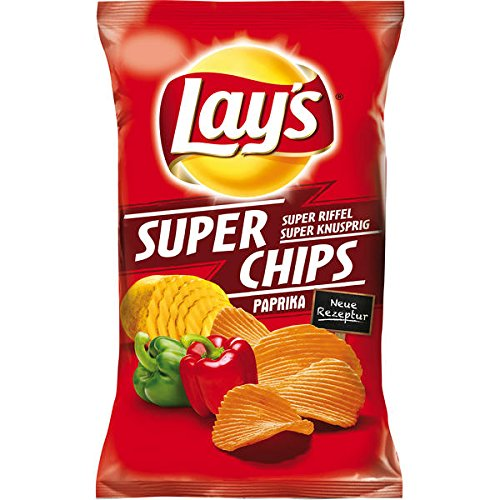 8 Beutel Lay´s Super Chips Paprika Lays a 175g Orginal