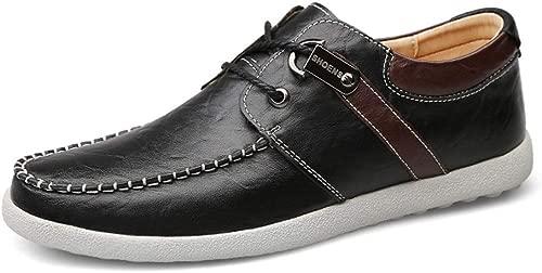YEEWEN Handgemacht Herren Business Oxford Driving Schuhe schnüren Sich auf Kunstleder Lightweight Walking Anti Slip Round Toe Abendschuhe (Farbe   Schwarz, Größe   40 EU)